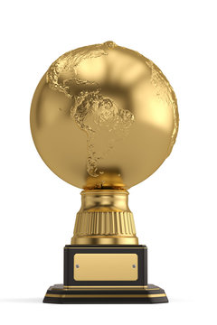 Golden globe trophy isolated on white background. 3D illustration.
