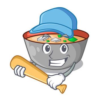 Playing baseball japanese miso soup in cartoon bowl