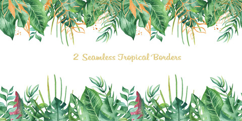 Watercolor seamless tropical border. Texture with tropical leaves, flowers, golden plants. Great for summer and wedding design, cards, invitations.
