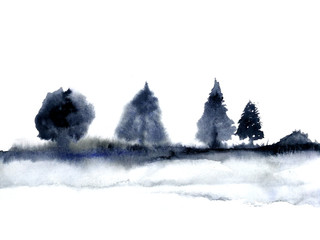 watercolor landscape ink tree traditional oriental. asia art style.isolated on a white background