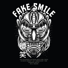 Fake Smile Black and White Illustration