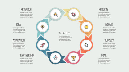 Business infographics. Circle with 8 parts, options. Vector template.