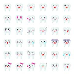 Cute tooth cartoon emoticon set, flat style
