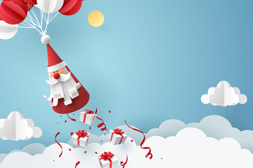 Paper art of Gift box dropping from Santa Claus, merry Christmas and happy new year celebration concept