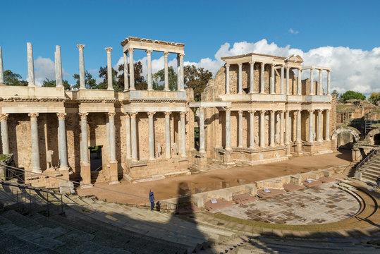 MERIDA, BADAJOZ, SPAIN - NOVEMBER 23, 2018: The Roman Theatre of Merida is a construction promoted by the consul Vipsanius Agrippa in the Roman city of Emerita Augusta, capital of Lusitania.
