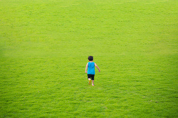 Little child boy running forward in the big green grass field summer day.