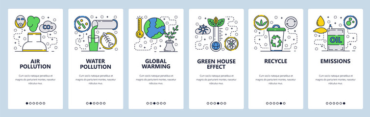 Web site onboarding screens. Global warming, environment pollution and waste recycle. Menu vector banner template for website and mobile app development. Modern design linear art flat illustration. Fotobehang