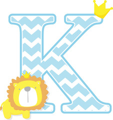 initial k with cute little lion king with golden crown isolated on white background. can be used for father's day card, baby boy birth announcements, nursery decoration, party theme or invitation