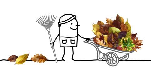 Cartoon Man with big Pile of Autumn Leaves in Wheelbarrow
