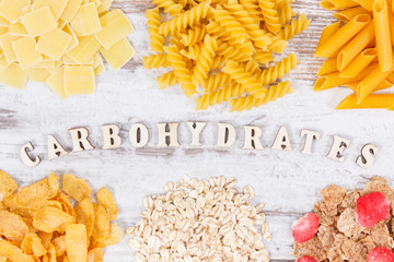 Inscription carbohydrates and healthy food as source fiber and minerals