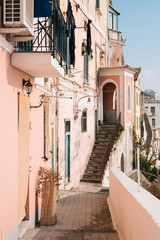 Pink pastel house in Amalfi, Italy