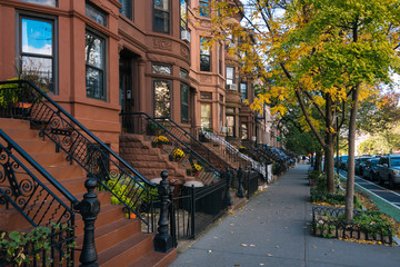 Brownstones and autumn color in Park Slope, Brooklyn, New York City