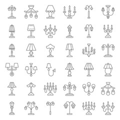Lantern or lamp vector icon set, line style