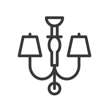 Lantern or lamp vector icon, line style editable stroke