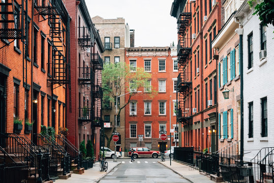 Colorful houses along Gay Street in the West Village, Manhattan, New York City