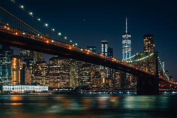 The Brooklyn Bridge and Manhattan skyline at night, from DUMBO, Brooklyn, New York City