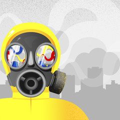 gas mask or respirator the glasses of witch have a reflection of a chemical factory or a power plant