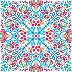Foto auf Acrylglas Marokkanische Fliesen Vector seamless decorative floral embroidery pattern, ornament for textile, kerchief, pillow or handbag decor. Bohemian handmade style background design.