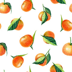 Watercolor Tangerines with leaves. Semless pattern for print design.Mandarin orange fruit.