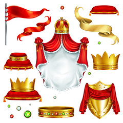 Big set of monarch power symbols and wealth attributes 3d realistic vector isolated on white background. Heraldic emblem, golden crowns with gems, precious stones, silk ribbons and flag illustration