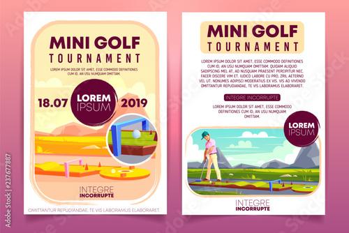 Mini Golf Tournament Cartoon Vector Promo Brochure Invitation Flyer
