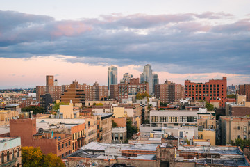 View of the East Village at sunset, in Manhattan, New York City