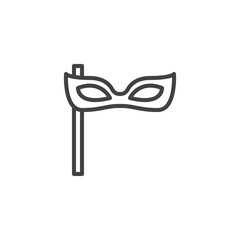 Party mask outline icon. linear style sign for mobile concept and web design. Carnival mask simple line vector icon. Symbol, logo illustration. Pixel perfect vector graphics