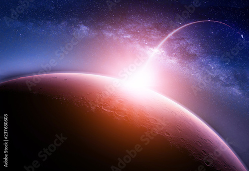 Wall mural Landscape with Milky way galaxy. Sunrise and Planet view from space with Milky way galaxy. (Elements of this image furnished by NASA)
