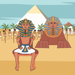pharaoh on throne at  pyramids and sphinx background