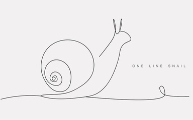 One line drawing snail animal silhouette icon or logo isolated on the white background. Print for clothes. Vector illustration.