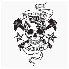 Skull vector for tattoo designs, t-shirt designs, logo designs, icon designs.