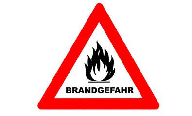 Brandgefahr Warnschild