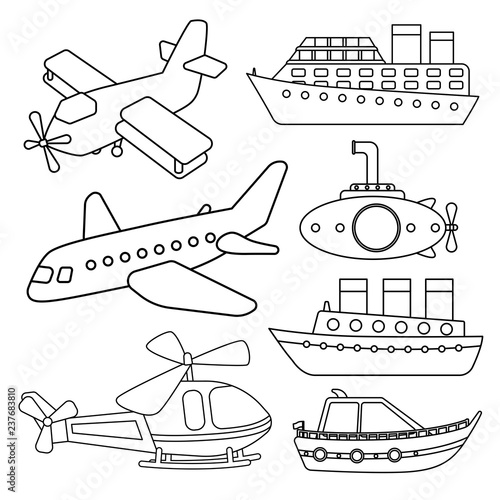 vector set of air and water transport coloring book for kids stock image and royalty free. Black Bedroom Furniture Sets. Home Design Ideas