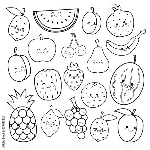 Vector set of cute fruits. Coloring book for kids.\