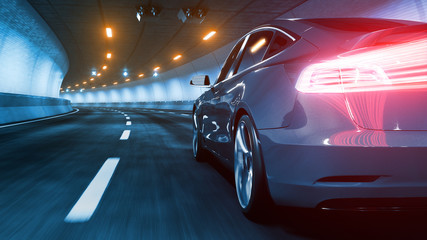 Modern Electric car rides through tunnel with warm yellow light 3d rendering Wall mural