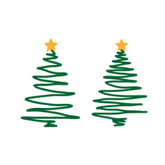 hand drawn Christmas tree on a white background