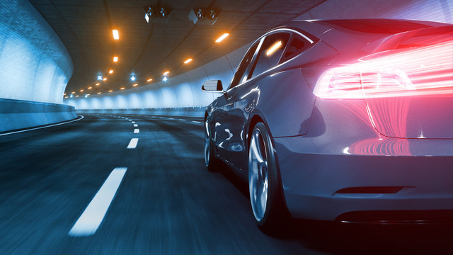 Modern Electric car rides through tunnel with warm yellow light 3d rendering