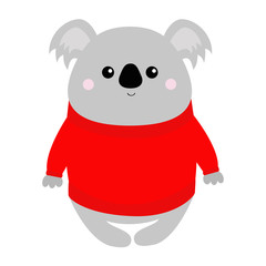 Koala in red ugly sweater. Merry Christmas. Kawaii animal. Cute cartoon bear baby character. Funny face. Happy New Year. Greeting card. Flat design. White background. Isolated.