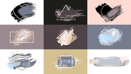 Golden silver pastel pink art frames. Brush makeup stroke logo design, gold, premium, flyer, invitation empty, nude, blank. Pastel rose blue contour frame. Hand drawn Vector