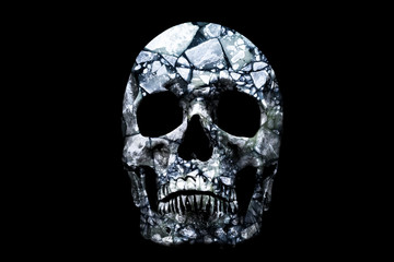 The skull which blocks of ice inside on a black background