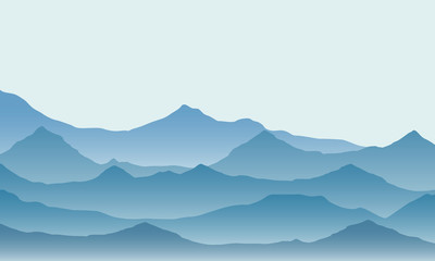 Realistic illustration of mountain landscape with fog under green and blue sky, vector