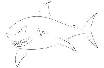 Black line shark on white background. Shark. Sketch style. Vector graphic icon animal.
