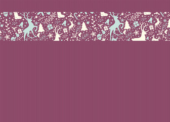 Layout of Christmas greeting card with decorative reindeers. Vector.