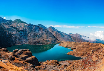 Langtang gosainkunda lake panorama