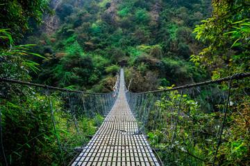 Nepal suspension bridge Langtang valley