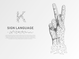 Origami Sign language K letter, hand that use the visual-manual modality to convey meaning. Polygonal space low poly style. People silent communication. Connection wireframe Vector on white background