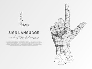 Origami Sign language L letter, hand that use the visual-manual modality to convey meaning. Polygonal space low poly style. People silent communication. Connection wireframe Vector on white background