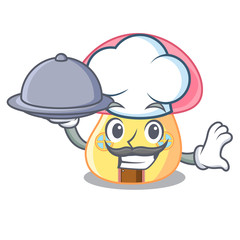 Chef with food mushroom house in a shape character