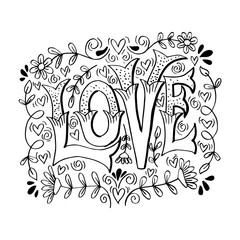 Love hand drawn lettering. hand drawn illustration