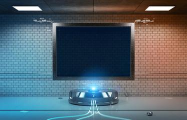 Futuristic horizontal billboard in underground tube station mockup 3d rendering